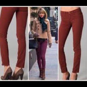 J Brand Sz 28 Merlot Burgundy Skinny Jeans 811K